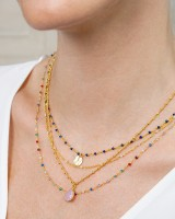 Color Stones drop necklace